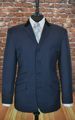 "The ""Price"" Navy & Black Puppy Tooth With Velvet Collar Suit"